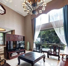 新中式复式楼客厅电视背景墙装修效果图-每日推荐