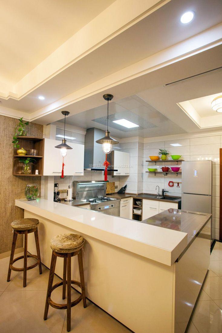 简约120平米开放式厨房吊顶装修效果图图片