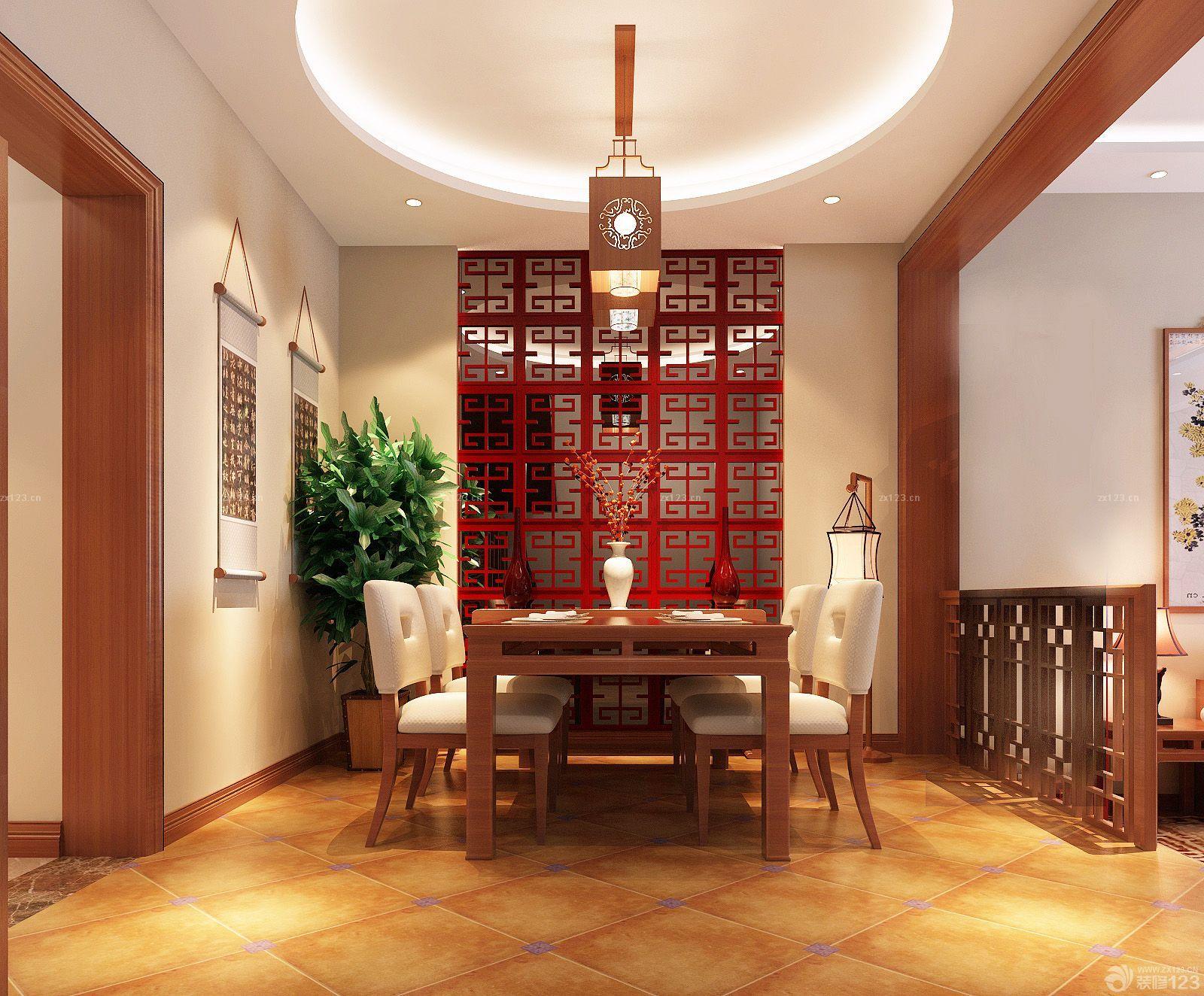 中式家装风格餐厅镂空隔断装修效果图片图片