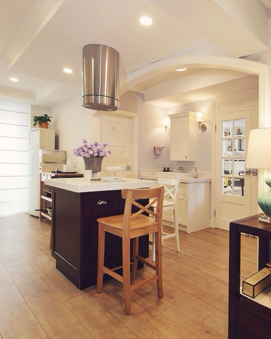 简约美式风格开放式厨房隔断效果图_装修123效果图图片