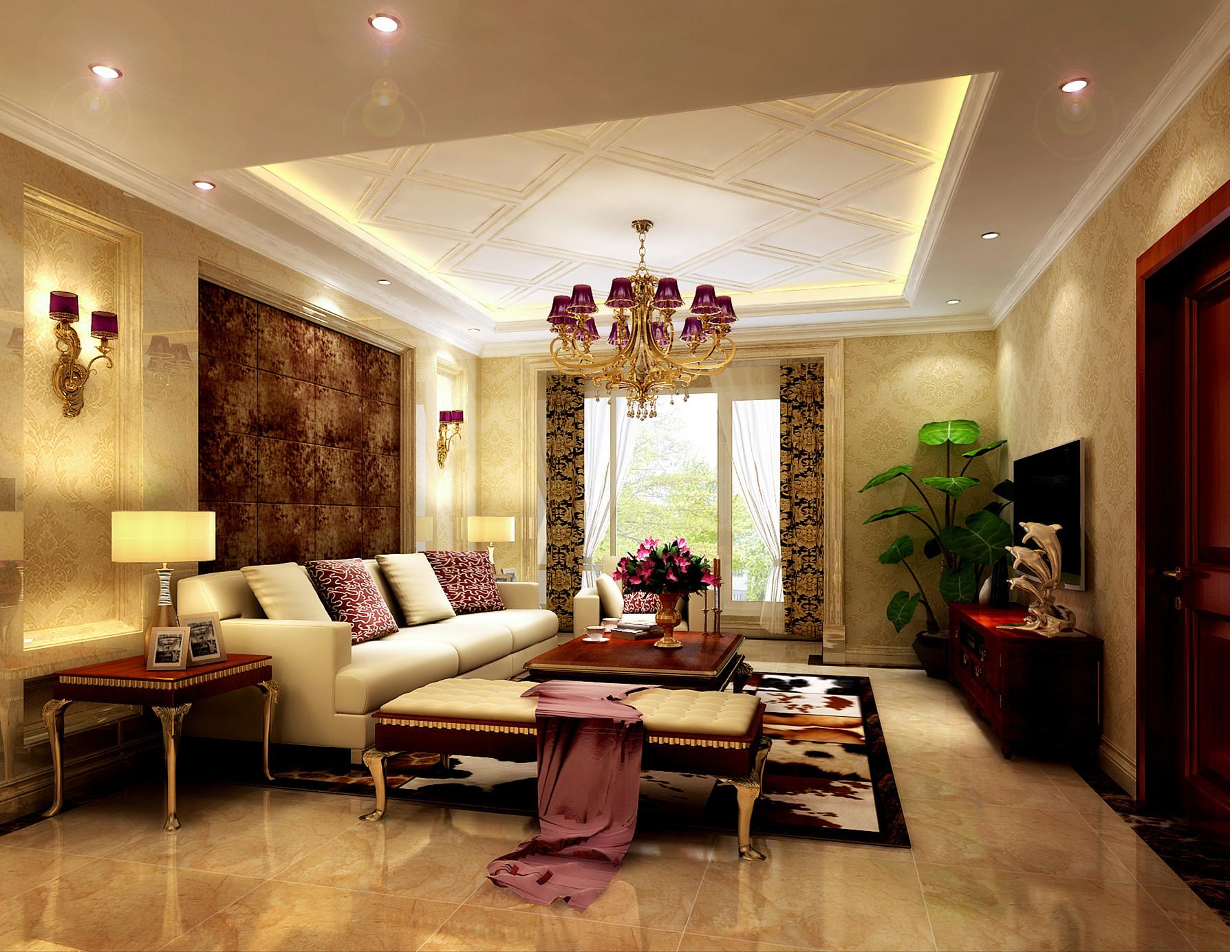 简欧式客厅地毯设计装修图片