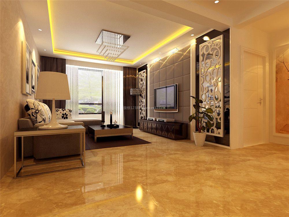 现代简欧风格客厅黄色地砖装修效果图片