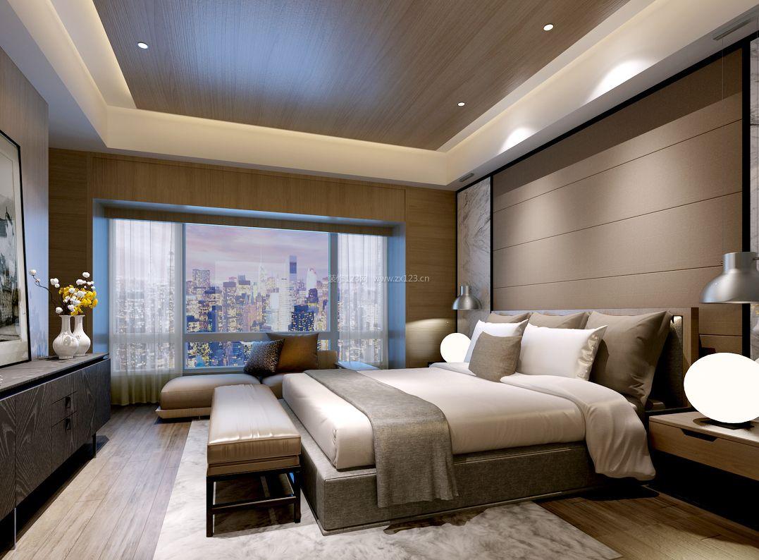 室内设计现代简约风格主卧木质吊顶装修效果图片图片