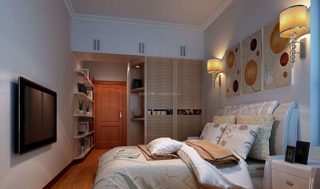现代室内小户型卧室墙面置物架装修设计效果图片