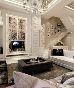 三层别墅室内客厅电视背景墙装饰效果图片