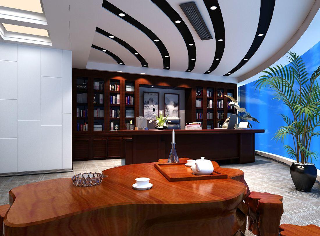现代办公室风格吊顶装饰效果图