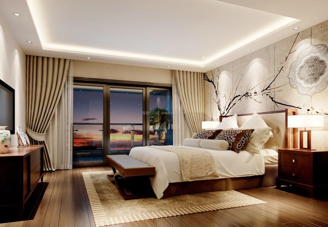 中式简约卧室背景装修效果图图片