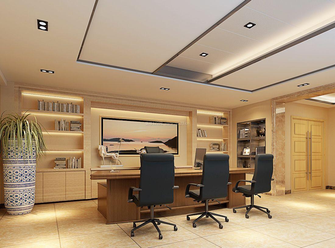 现代办公室风格石膏板吊顶效果图