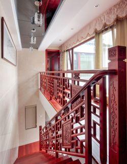 新中式风格实木楼梯图案装修效果图