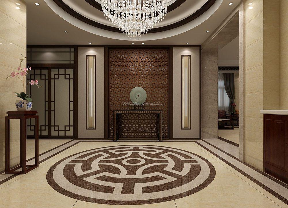 中式风格别墅设计玄关吊顶效果图图片