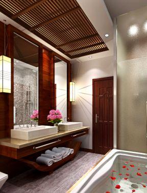 2017中式风格别墅设计浴室吊顶装修图