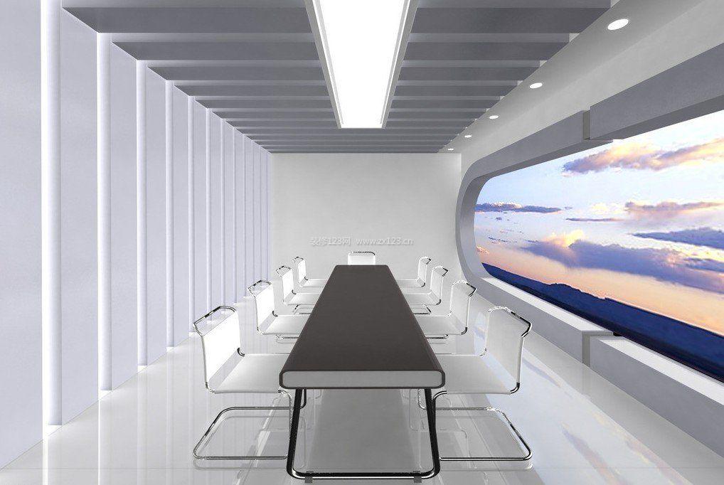 白色现代办公室天花吊顶装修效果图