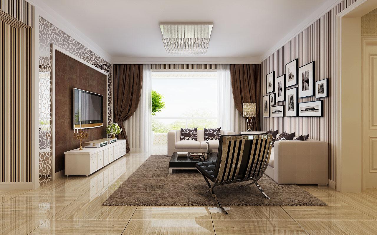 2017欧式简约风格客厅灯具装饰效果图片_装修123效果图图片