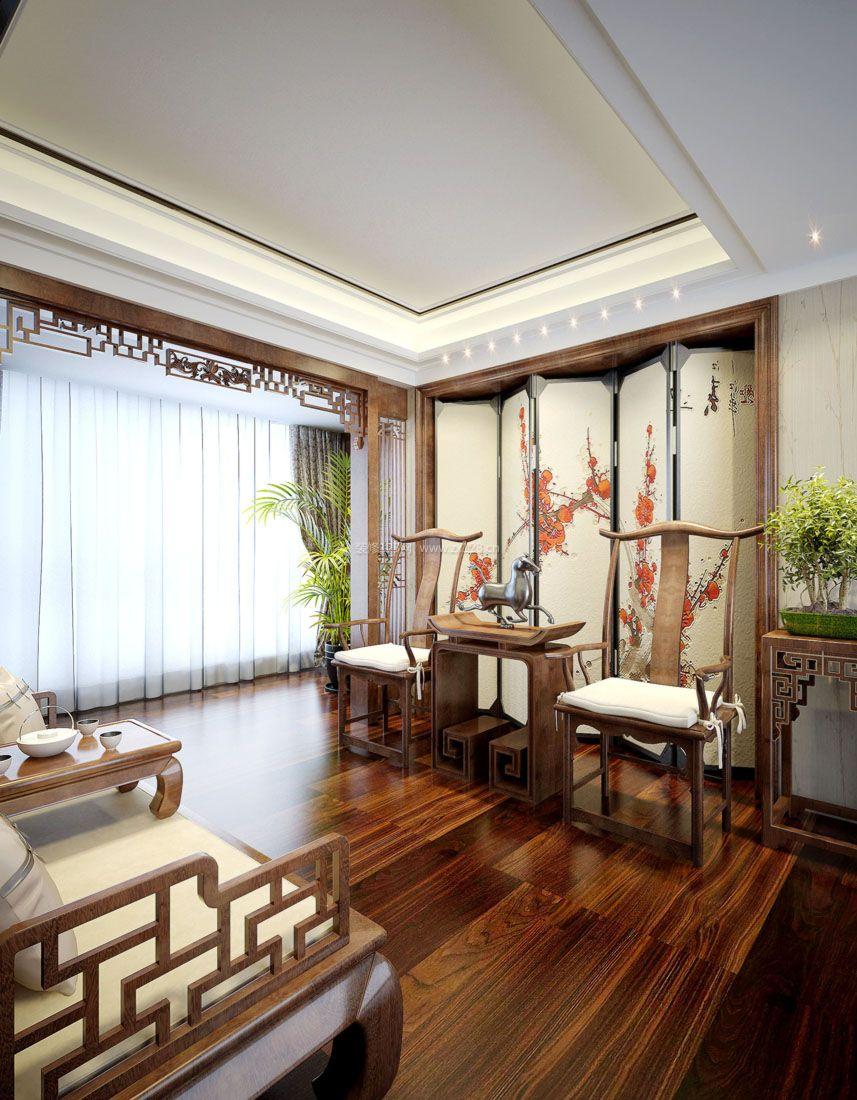 中式家装客厅雕花隔断装修效果图片