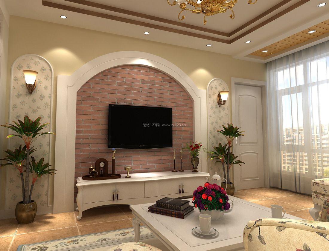 2017田园房屋客厅电视背景墙装修图
