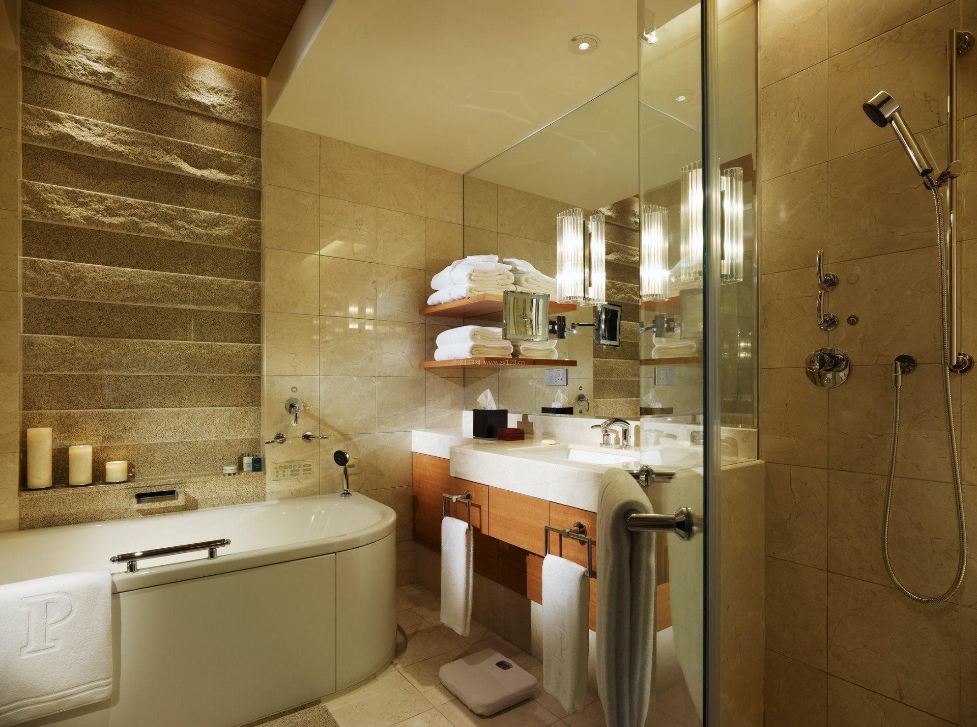 高档酒店室内浴室玻璃门装修效果图片