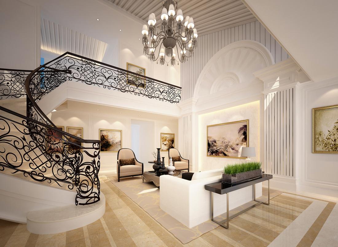 2017欧式两层别墅楼梯装修效果图片