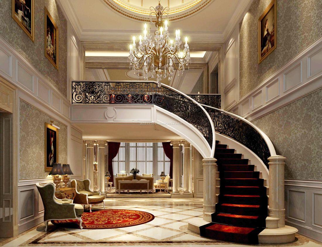 欧式农村两层别墅设计楼梯效果图