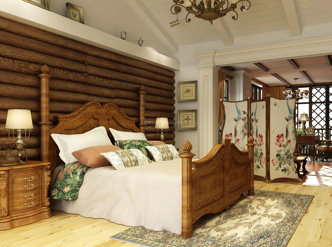 2017美式时尚家居豪华别墅卧室装修效果图片图片