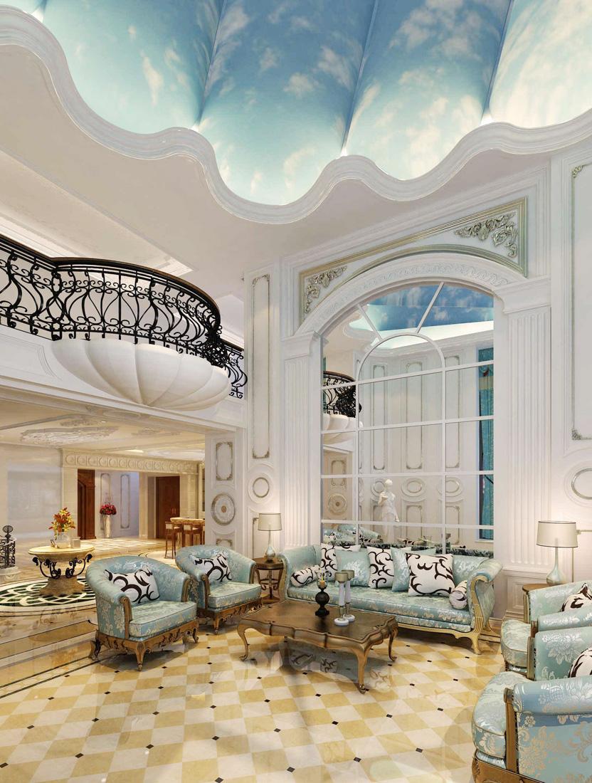 古典欧式别墅客厅壁纸装修效果图图片