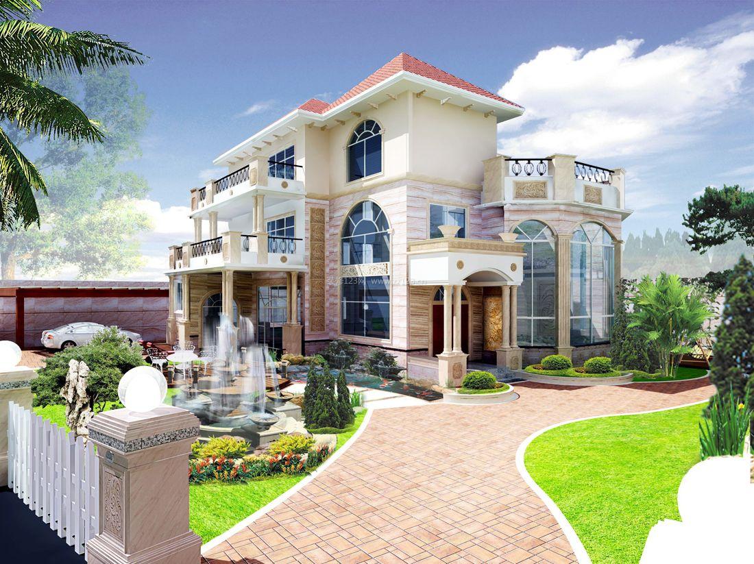 三层别墅建筑外观效果图