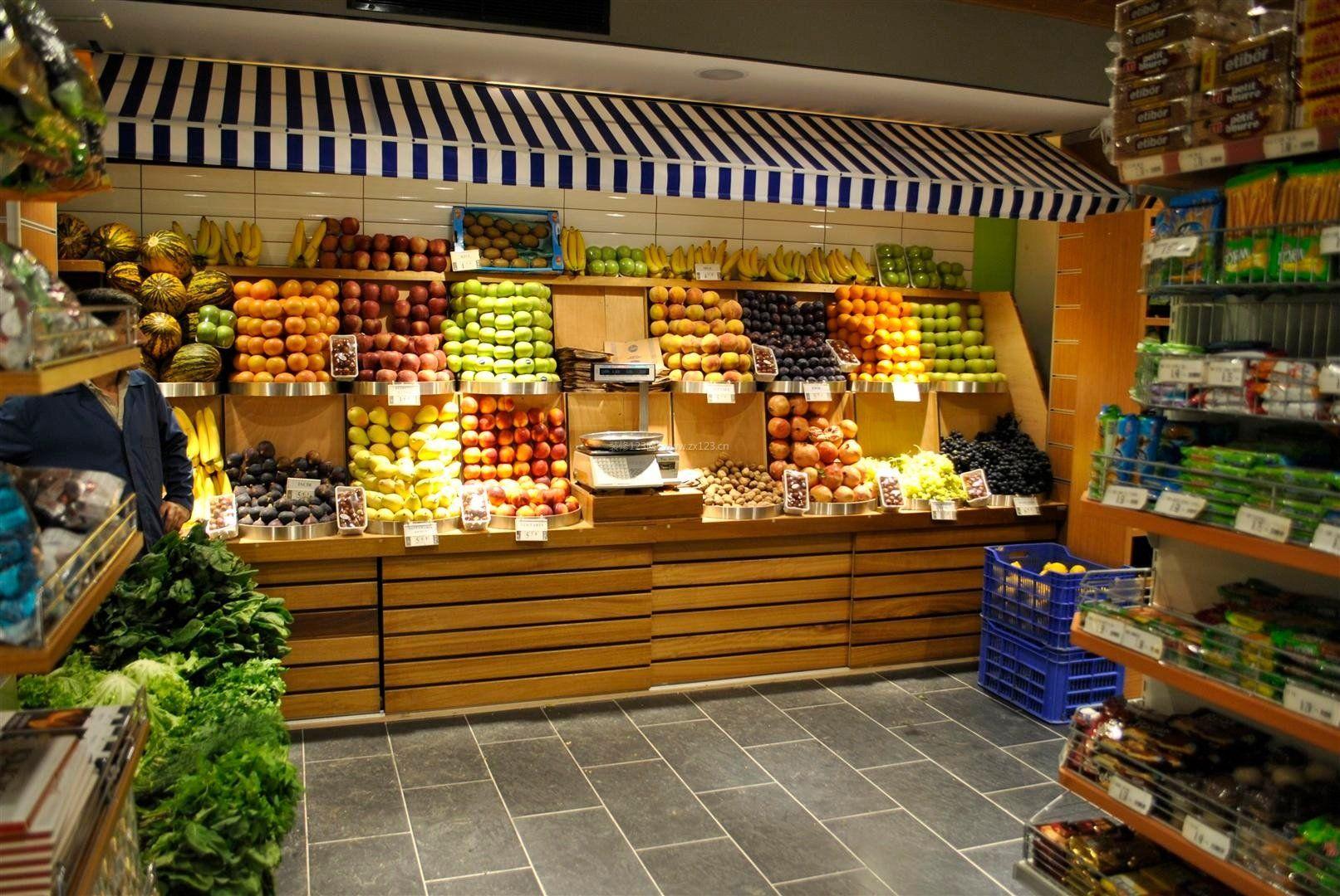 大型水果店门面装修设计效果图片