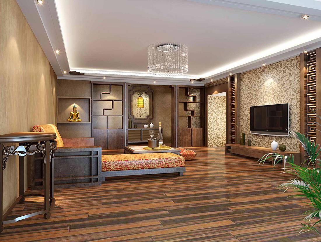 中式元素客厅电视背景墙墙纸装修图片