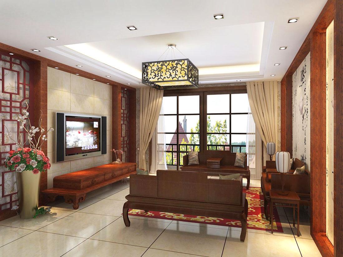 新中式风格元素电视背景墙设计效果图片