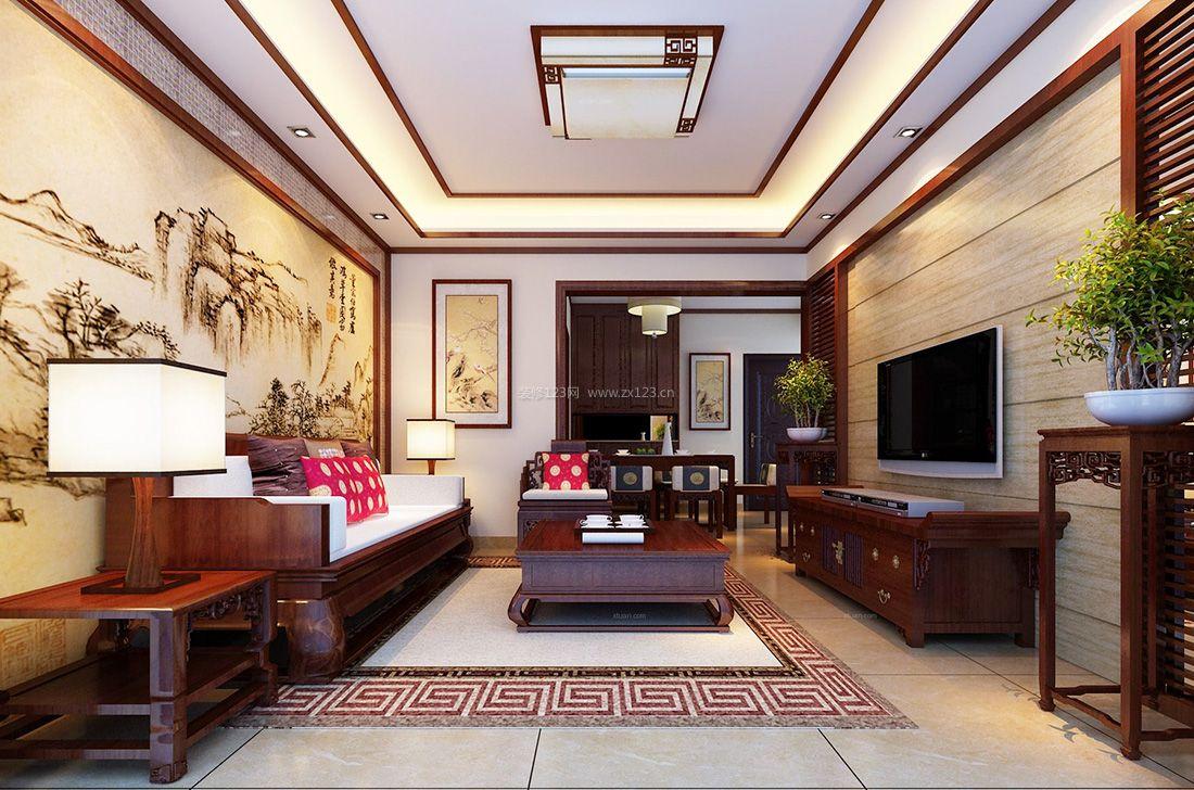 中式简约风格元素小户型电视背景墙装修图片