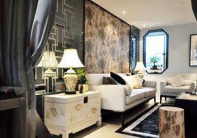小戶型簡約背景墻 中式客廳裝修效果圖