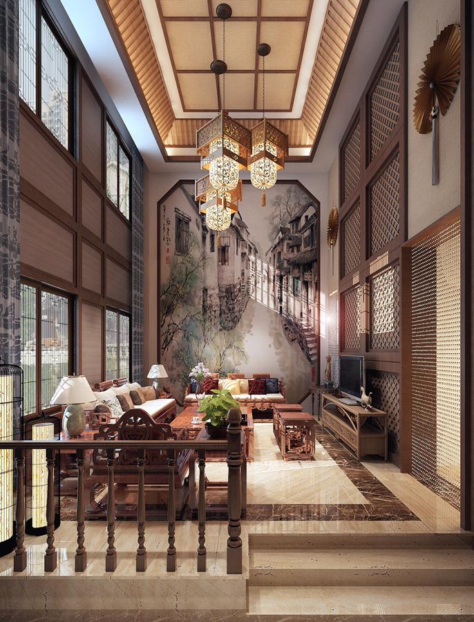 2017豪华客厅墙面中式元素图案装修效果图