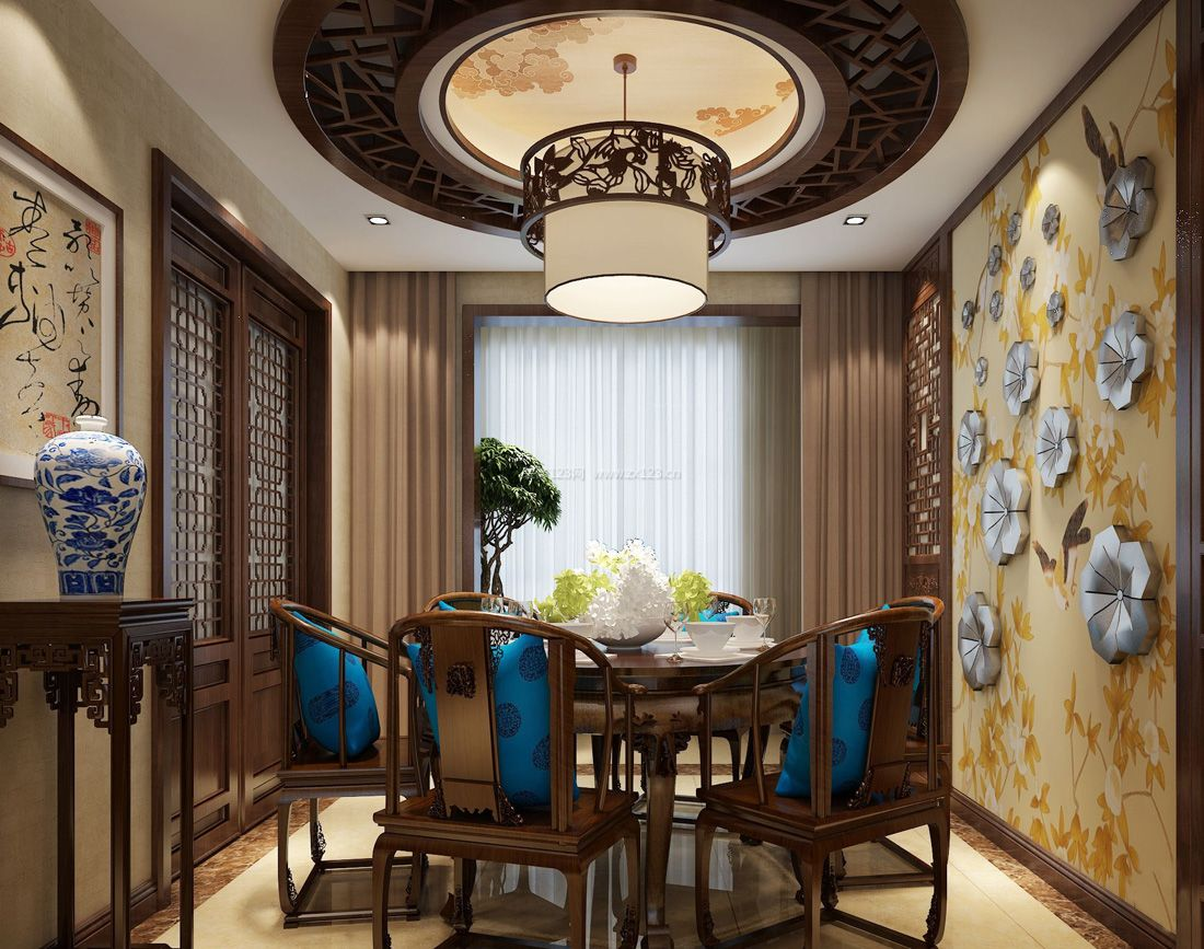 餐厅背景墙装饰中式元素图案装修效果图片