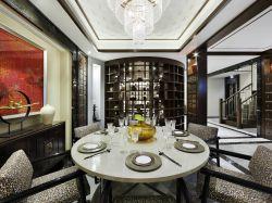 中式別墅餐廳設計燈具裝修效果圖