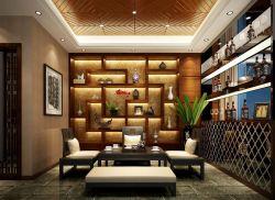 茶室设计中式元素图案装修效果图图片