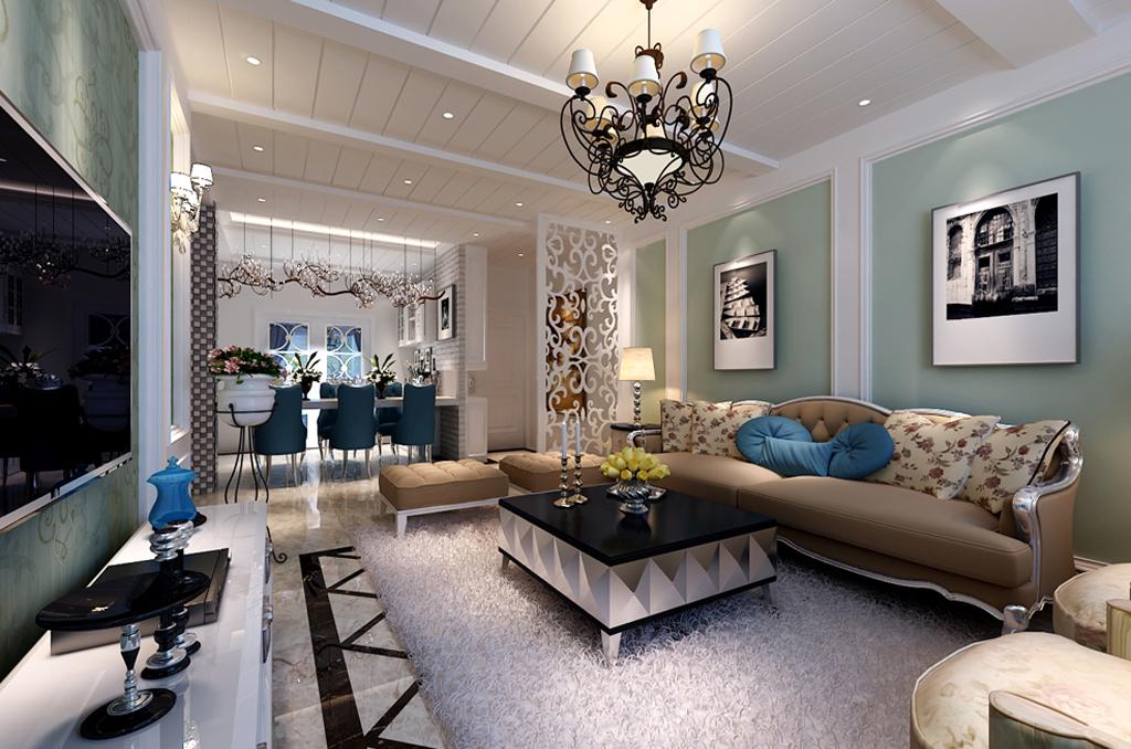 现代简欧风格沙发背景墙装修效果图图片