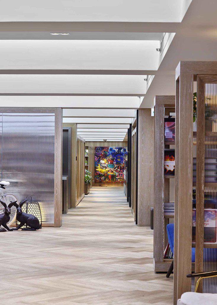 办公室走廊设计天花吊顶效果图_装修123效果图