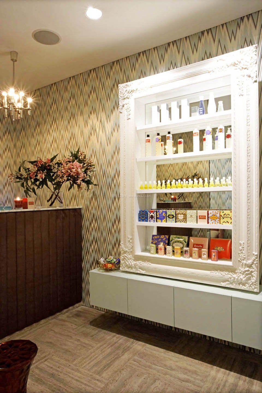 美容院门面室内展示柜装修效果图片大全图片