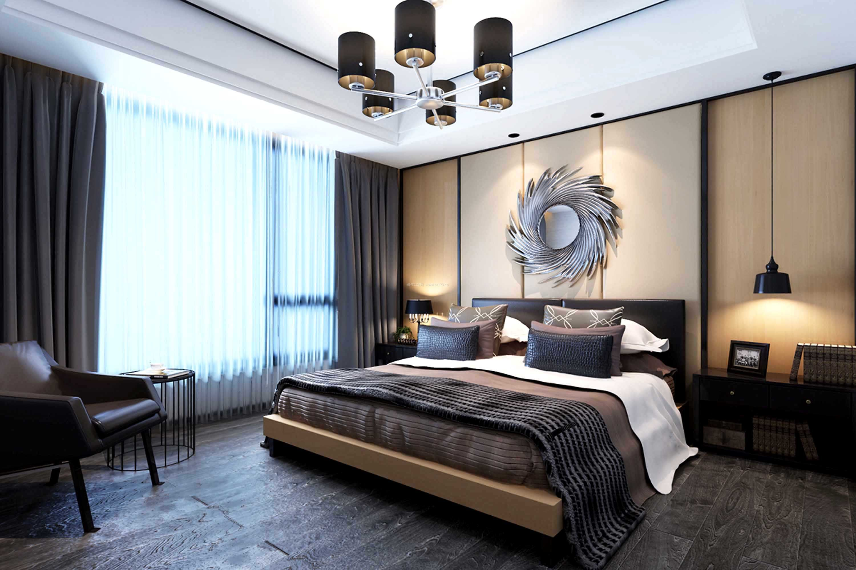 现代卧室灰色木地板装修效果图