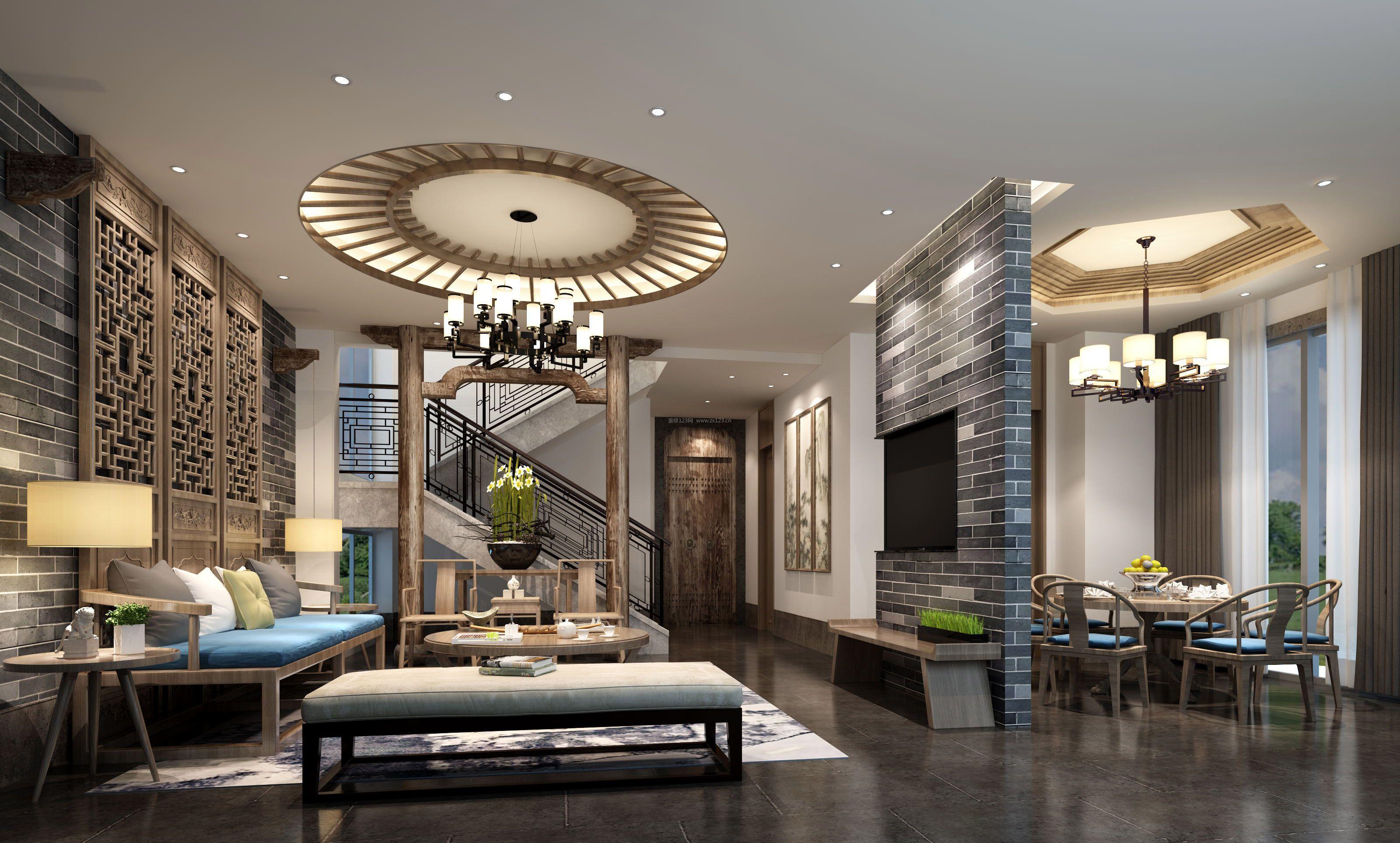 家装效果图 中式 现代中式别墅客厅吊顶样式设计效果图 提供者:   ←图片