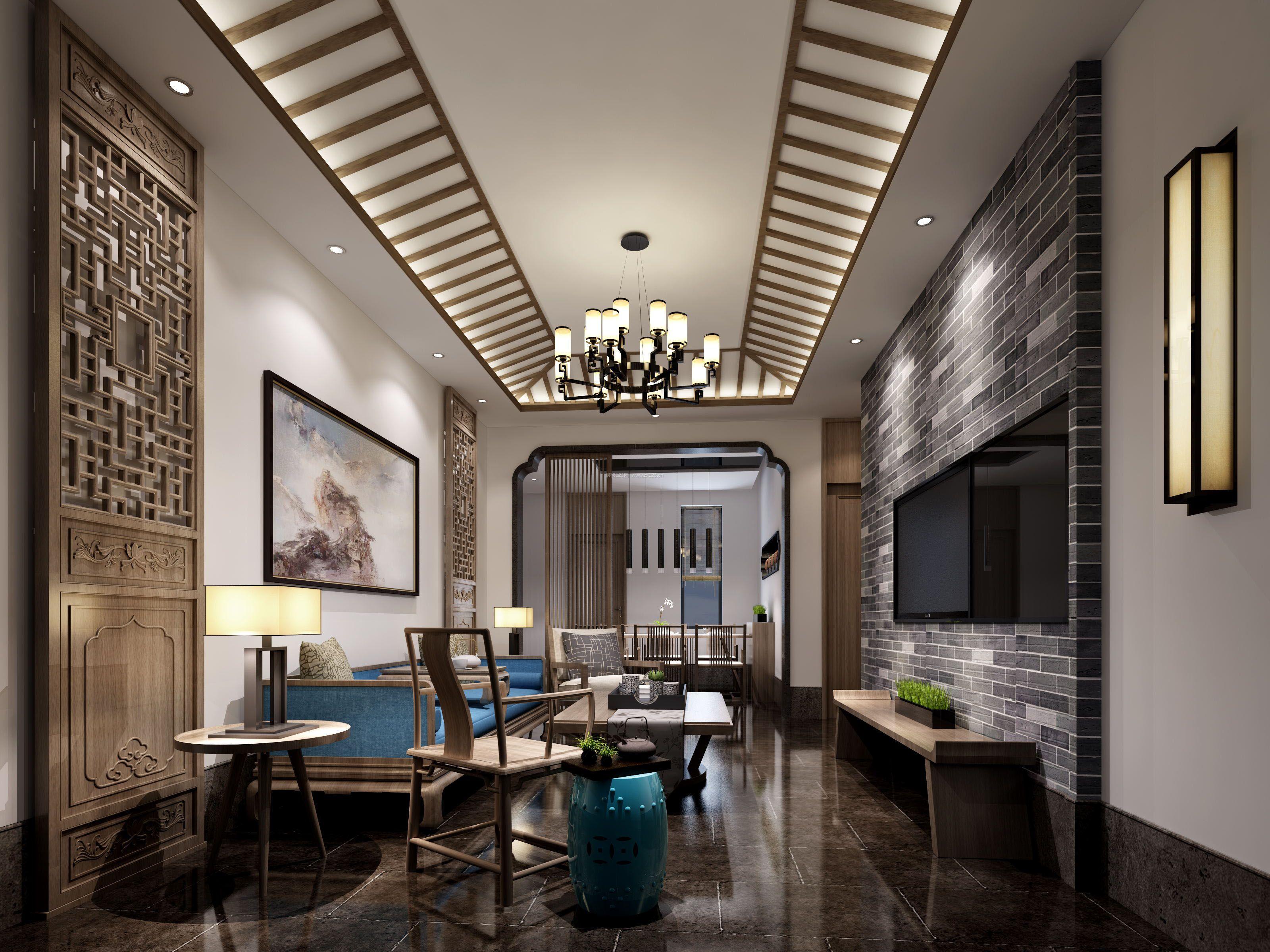 家装效果图 中式 现代中式别墅客厅吊顶装饰效果图片 提供者:   ←