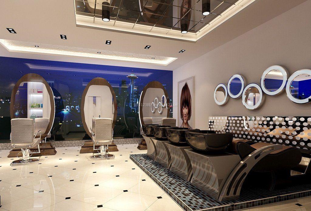 现代时尚简约风格室内美发店装修效果图展示
