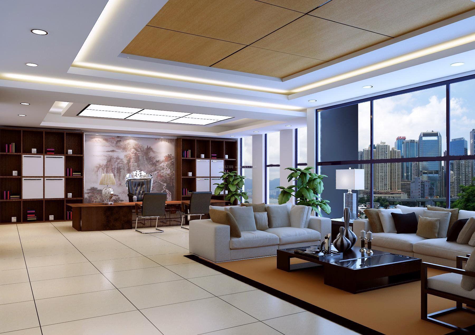 现代时尚老总办公室背景墙效果图_装修123效果图