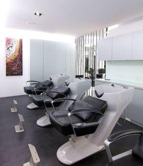黑白风格美发店洗头房装修图图片