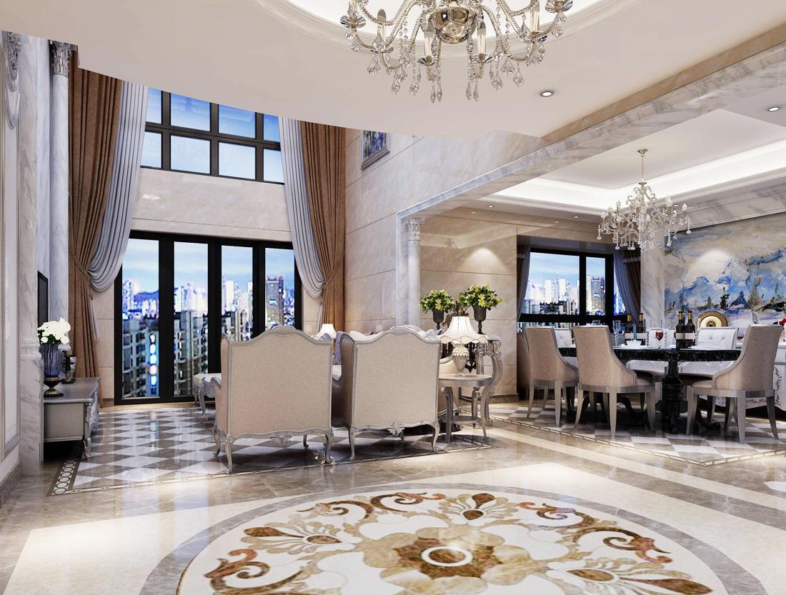 2017现代欧式客厅窗帘搭配效果图