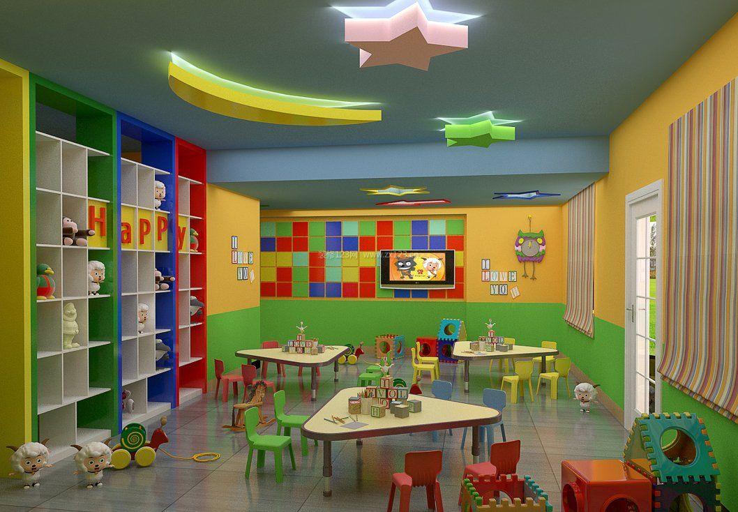 时尚幼儿园吊顶设计装修效果图
