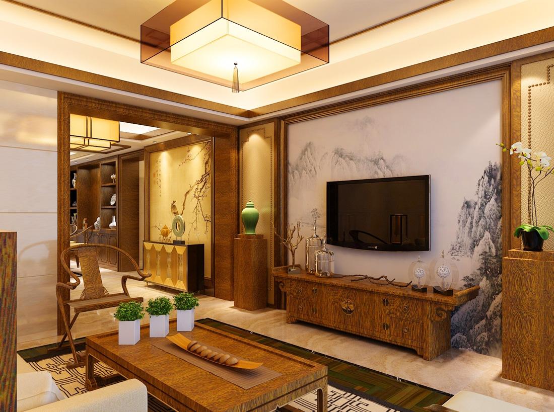 中式小户型客厅天花装修图片