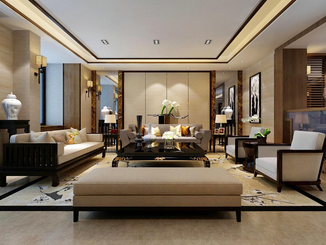中式别墅客厅天花装修效果图