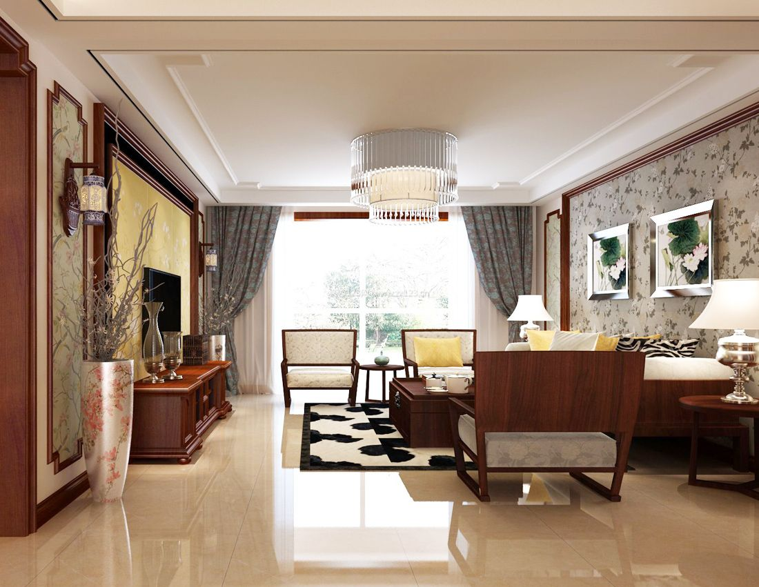 中式客厅天花石膏线吊顶效果图
