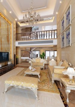 欧式沙发背景墙画 复式客厅装修效果图