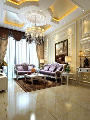 欧式沙发背景墙画 小别墅装修效果图图片